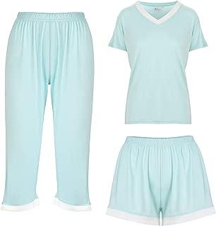 Bamboo Women's Pajamas Sleepwear 3 Piece Set: Capri Pajama Pants Loungewear Shorts & Top Ultra Soft and Comfortable