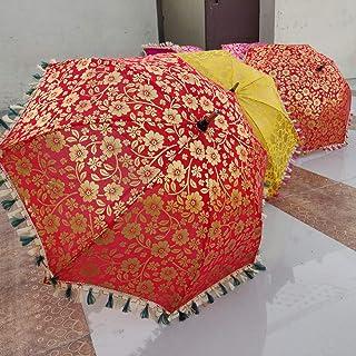 Worldoftextile 5 Unidades de Paraguas Indio de Boda Hecho a Mano para decoración de sombrillas, sombrillas Vintage de algodón