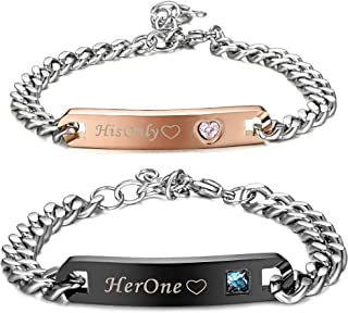 Fiasaso 2Pcs Stainless Steel Couple Bracelet His & Hers Matching Bracelet Set for Lover Relationship Gift
