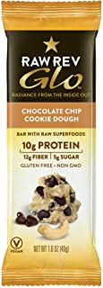 Raw Rev Glo Protein Bars, Chocolate Chip Cookie Dough, 1.6 Ounce each Bar, 12 Count (Pack of 1)