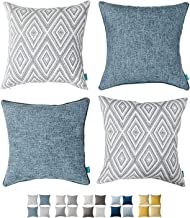 HPUK Solid Pillow Cover Sparkle Chenille Plain Modern Pillowcase, 17x28 inch, for Couch Sofa Living Room Office, Linen-BlueO