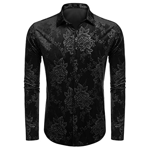 44d6cbd5 Coofandy Men Casual Short Sleeve Slim Floral Print Button Down Shirt