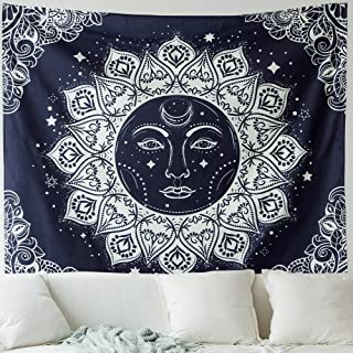 MIULEE Psychedelic Moon and Sun Tapestry Dark Blue White Celestial Wall Hanging Indian Hippie Bohemian Mandala Tapestry for Bedroom Living Room 51X59 Inch