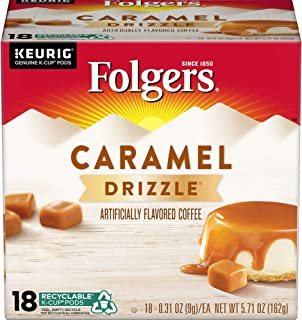 Folgers Caramel Drizzle Flavored Coffee, K Cup Pods for Keurig K Cup Brewers, 18-Count (Pack of 4)