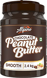 Alpino Chocolate Peanut Butter Smooth 2.4 KG   Made with Roasted Peanuts, Cocoa Powder & Choco Chips   20% Protein   Non G...
