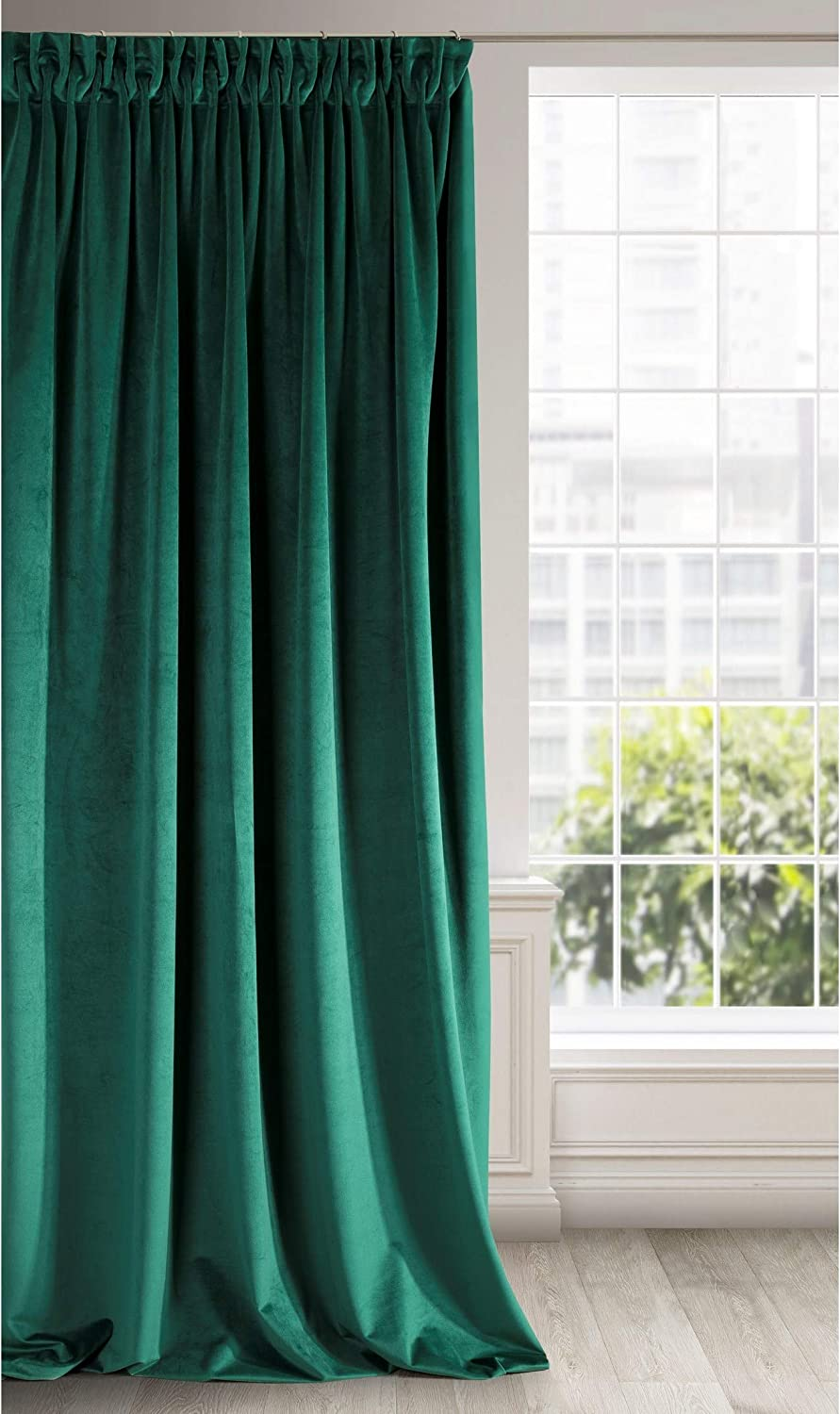 Eurofirany Soft Velvet Curtain Plain with Ruffle Tape Ribbon-1 Unit Thick Thermo Opaque Fluffy Modern Classic Glamour Elegant Living Room Bedroom, Dark Green, 55
