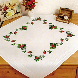 Kamaca Stickpackung Tischdecke ERDBEEREN Kreuzstich vorgezeichnet aus Baumwolle Stickset mit Stickvorlage Mitteldecke 80x80 cm