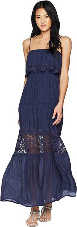 American Rose Libby Spaghetti Strap Maxi Dress with Lace Detail