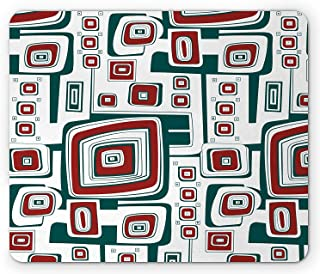 Modern Mouse Pad, Abstract Vector Geometrical Shapes Squares Maze Like Image Print, Standard Size Rectangle Non-Slip Rubber Mousepad, Red Forest Green and White