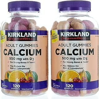 Kirkland Signature Chewable Calcium with Vitamin D3 Adult Gummies, 120 ct x 2 Bottles