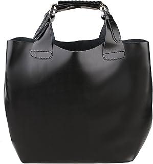 Bolsa de mujer con correa de hombro en cuero genuino Made in Italy y bolsa interior de algodón extraíble 44x30x13 Cm