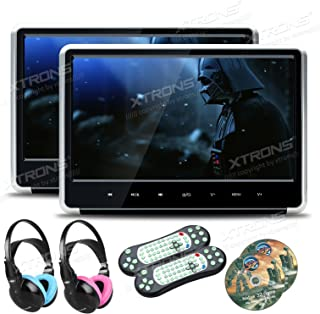 XTRONS Silver 2X 11.6 Inch Pair HD Digital Touch Panel Car Auto Headrest Active DVD Player Kid Games Built-in HDMI Port He...