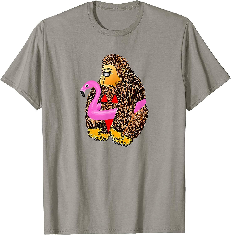 面白いビキニゴリラフラミンゴのおもちゃTシャツ