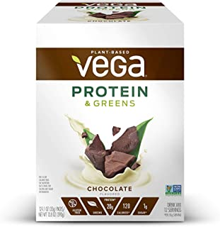 Vega Protein & Greens Chocolate, Plant Based Protein Powder, Keto-Friendly, Gluten Free, Non Dairy, Vegan, Non Soy, Non GMO, 12 Count per pack, 13.8 Ounce(Packaging may vary)