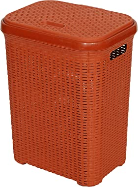 Esquire 50L Rattan Laundry Basket with LID (Brick Red)