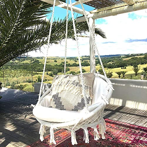 Hammock Chair Macrame Swing 265 Pound Capacity Handmade Knitted Hanging  Swing Chair For Indoor/Outdoor