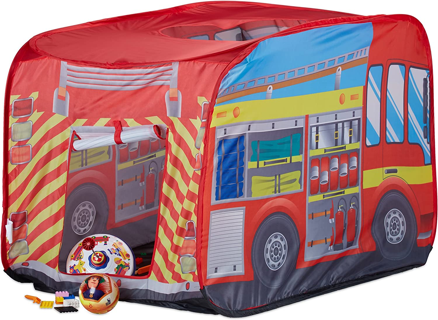 Relaxdays Fire Brigade Play Tent, Pop Up Fire Truck Playhouse, For Indoor & Outdoor Use, 70x110x70 cm, Age 3 and Up, Red