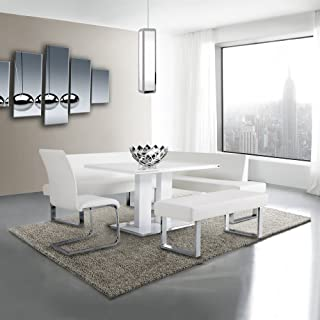 Armen Living Amanda Sectional in White and Chrome Finish