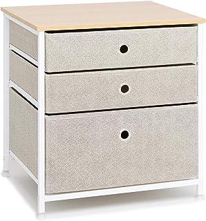 Suhu Table de Chevet Cube Table de Nuit avec 3 Tiroir Petite Table Basse Metallique pour Salon Armoire Chambre Tissus Comm...