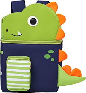 Toddler Backpack with Leash and Chest Strap for Boys Girls, Cute 3D Kindergarten School Backpack for Kid (Dinosaur)