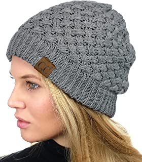 a96591d014e C.C Basketweave Knit Warm Inner Lined Soft Stretch Skully Beanie Hat