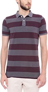 BASICS Muscle Fit Dark Shadow Grey Striped Rugby Polo T Shirt