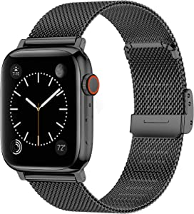 Swhatty Bands Compatible with Apple Watch Band 38mm 40mm 42mm 44mm for Women Men, Magnetic Stainless Steel Milanese Mesh Loop Adjustable Strap Replacement for iWatch Series 6/5/4/3/2/1/SE