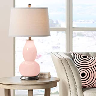 Modern Table Lamp Rose Pink Glass Double Gourd Off White Drum Shade for Living Room Family Bedroom Bedside Nightstand - Color + Plus