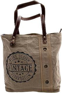 Gall&Zick Canvas Tragetasche Leder Tasche Schultertasche Shopper Damentasche Vintage Beige