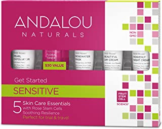 Andalou Naturals 1000 Roses Get Started Kit 5 Count (Exfoliator, Toner, Mask, Day Cream, Night Cream)
