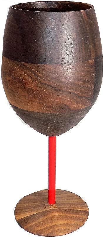 Wooden Walnut Wine Glass With Red Stem