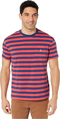 23b54e98 1. Polo Ralph Lauren. Short Sleeve Animated Pocket Tee - Classic. $45.00.  New. Freshwater/Spring Red