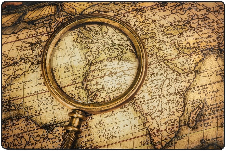 envío rápido en todo el mundo ALAZA Vintage lupa Mundial Mapa manta de de de área de 4 x 6 pies, Dormitorio Salón Cocina decorativo  punto de venta