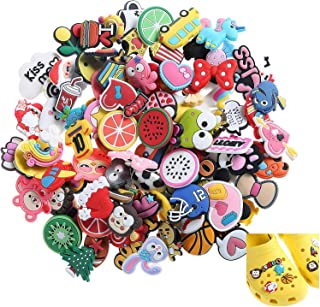 Efivs Arts 100pcs Different Shoes Charms Assortment Party Favors Toys for Crocs & Jibbitz Wristband Bracelet Party Gifts Kids Child, Christmas Celebration,Thanksgiving New Year