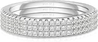 Spoil Cupid 14K Gold Plated Sterling Silver Cubic Zirconia Stackable Ring Eternity Wedding Bands for Women