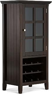 Simpli Home AXWELL3-009 Acadian 12-Bottle Solid Wood 24 inch Wide Rustic High Storage Wine Rack Cabinet in Tobacco Brown