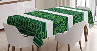 Ambesonne Irish Tablecloth, Shamrock Borders Gaelic Nature Botany Theme Trefoils with Swirls, Dining Room Kitchen Rectangular Table Cover, 52