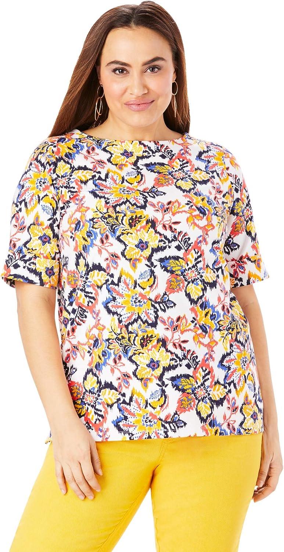 Jessica London Women's Plus Size Cuff Tee Short-Sleeve T-Shirt