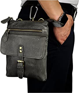 Le'aokuu Mens Genuine Leather Small Hook Fanny Waist Bag Hip Bum Belt Pouch Pack Crossbody Shoulder Bag for Casual Running Hiking
