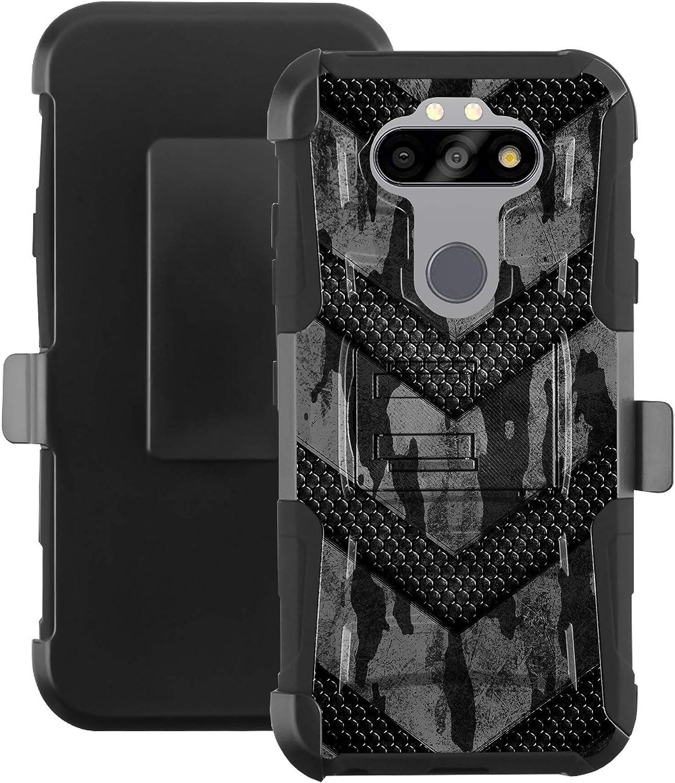 DALUX Hybrid Kickstand Holster Phone Case Compatible with LG Aristo 5 / Aristo 5 Plus/Fortune 3 / Rebel 5 / Tribute Monarch / K8X (2020) / Risio 4 / Phoenix 5 / K31 (2020) - Gray Camo Badge