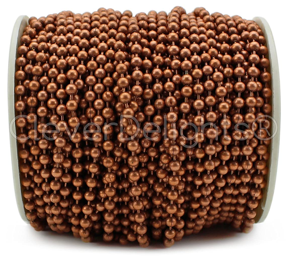CleverDelights Ball Chain Spool - 30 Feet - 3.2mm Ball (#6 Size) - Antique Copper Color - 10 Meters