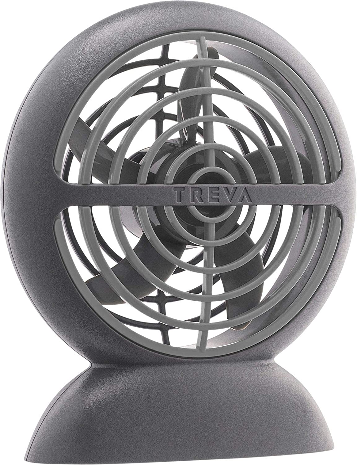 Treva Rechargeable Battery Small Fan - 3.5 Inch Blade USB Charging Port Fan - 3 Speed Circular Cooling Design - Portable Handheld or Personal Desktop Size - Travel Ready (Grey, 1)