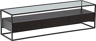 Marca Amazon -Rivet King Street - Consola de estilo industrial con tres cajones (metal negro madera y cristal)