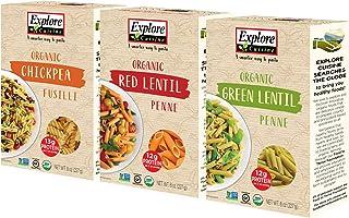 Explore Cuisine Organic Pasta Variety Pack - Chickpea Fusilli, Green Lentil Penne, Red Lentil Penne - 1 Box Each, 8 oz - H...