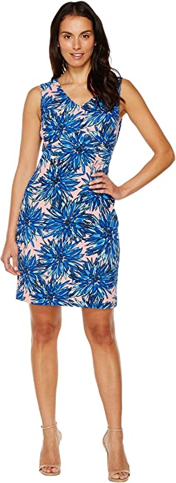 Printed Crepe Jersey Dress with V-Neckline