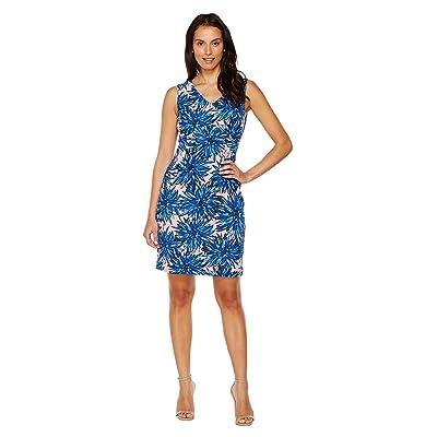 Ellen Tracy Printed Crepe Jersey Dress with V-Neckline (Blue Multi) Women