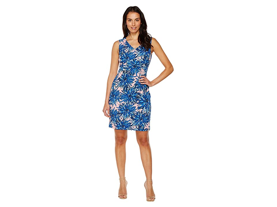 Ellen Tracy Printed Crepe Jersey Dress with V-Neckline (Blue Multi) Women