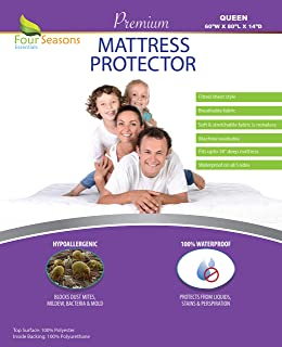 Queen Size Waterproof Mattress Protector - Fitted Sheet Mattress Cover With Deep Pockets - Hypoallergenic, Breathable, Protection From Allergens & Dust Mites - Water Proof, Noiseless, Vinyl Free