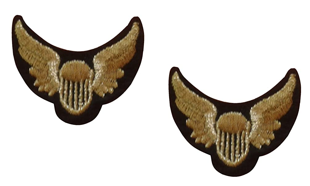 2 small pieces Gold Wings Crest Iron On Patch Motif Applique Heraldic Insignia Decal 1.7 x 1.5 inches (4.3 x 3.8 cm)