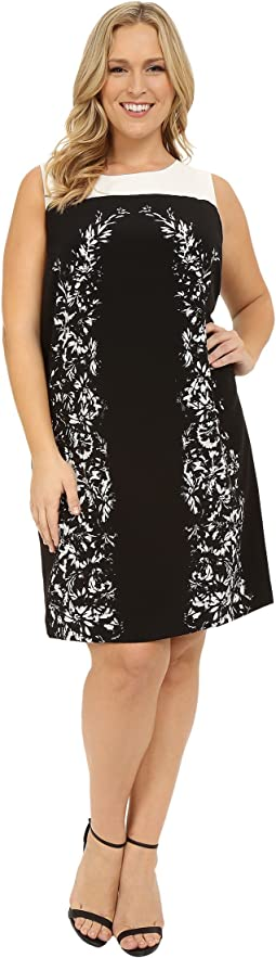 Plus Size Sleeveless Delicate Trellis Panel Shift Dress